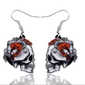 Gothic Butterfly Skull Dangling Earrings